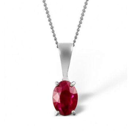 18K White Gold 7mm x 5mm Ruby Pendant, DCP02-RW